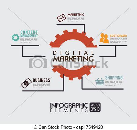 vector illustration of digital marketing over beige