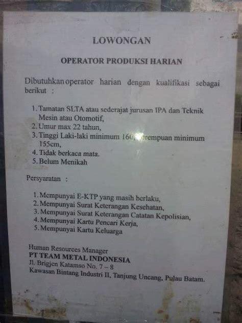 lowongan kerja pt team metal indonesia januari  lowongan kerja batam