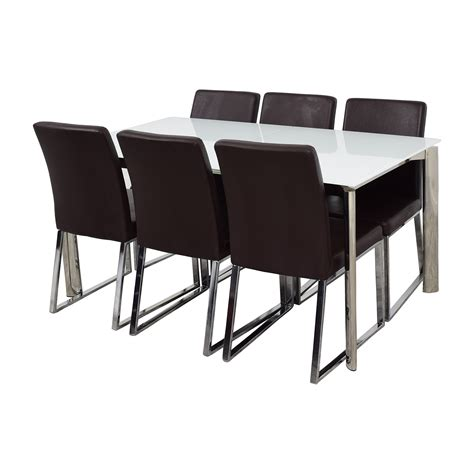 Glass White Dining Table 59 Modani Modani Cameron White Glass Extendable Dining Table With Six Niero Chairs Tables