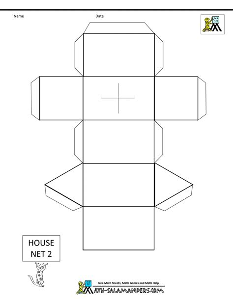 shape of house paper models for download nets
