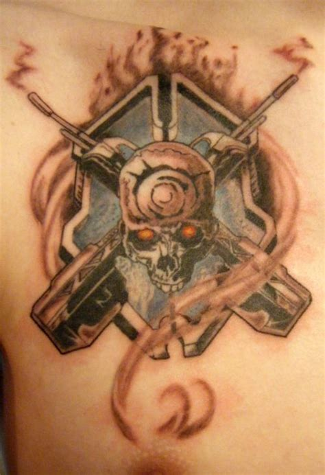 legendary tattoo this is a halo with the skull and the battle