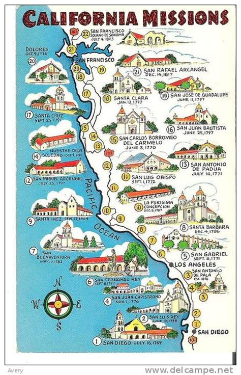 california missions map map of california missions built between 1769 and 1823 pueblos missions and