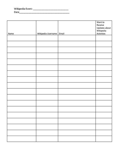 index page template free file event attendance sheet blank pdf