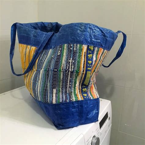 ikea hack blue bag to backpack plastic fantastic a woven ikea bag ikea hackers