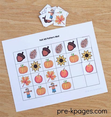 math pattern books for kindergarten fall autumn season theme pre k preschool kindergarten