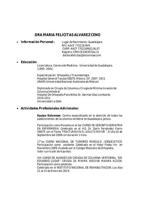 Curriculum Vitae Modelo Instrumentadora Quirurgica Curriculum Vitae Dra Mar 237 A Fel 237 Citas 193 Lvarez Ceno