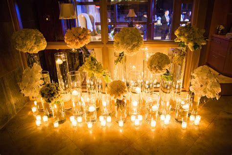 Candle and White Bouquet Reception Decor   Elizabeth Anne