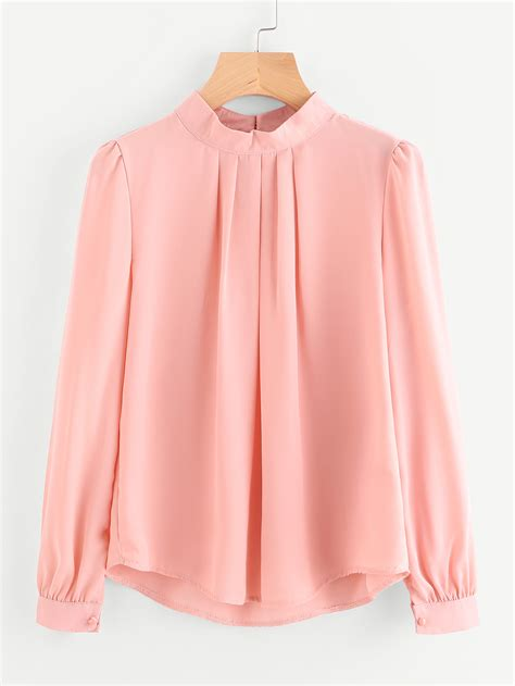pleated detail button keyhole back chiffon blouse shein