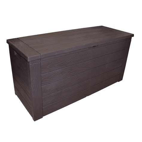 backyard storage box storage box outdoor garden patio plastic chest lid container wooden effect 300l ebay