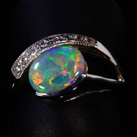 opal and ring in 14kt white gold