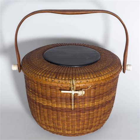 decorative covered baskets unusual round covered nantucket basket purse by jose
