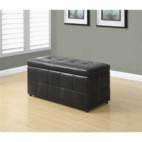 dark brown ottoman with storage leather storage ottoman in dark brown i 8984