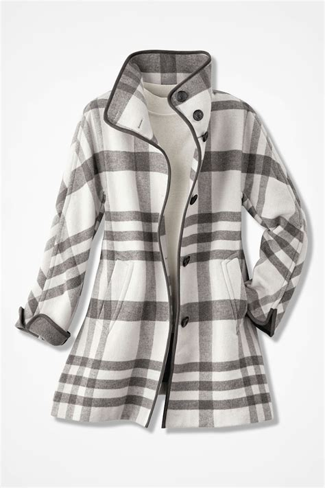 plaid swing coat dashing plaid swing coat coldwater creek