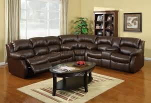 Leather Sectional Reclining Sofa 8002 Reclining Sectional Sofa In Brown Bonded Leather
