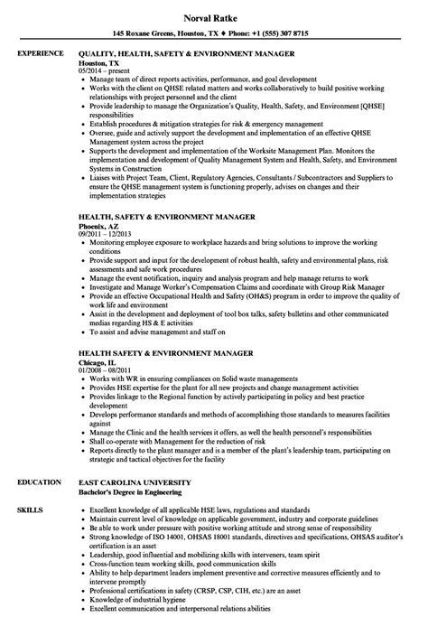 Health, Safety & Environment Manager Resume Samples   Velvet Jobs