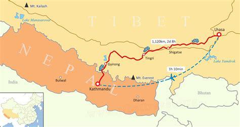nepal on map tibet nepal map lhasa to kathmandu map tibet nepal outline map