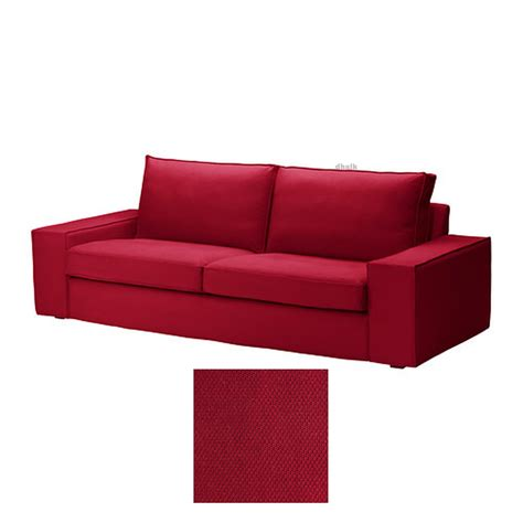 red couch covers ikea kivik 3 seat sofa slipcover cover dansbo medium red