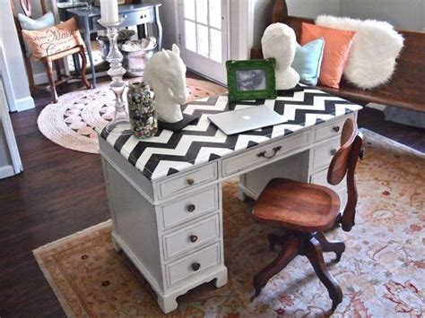 How To Paint A Desk White by Black And White Chevron Painted Desk Entry Table Craft