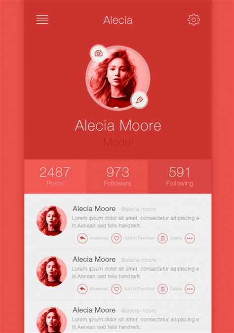 12 best exles of app profile page designs design trends premium psd vector downloads