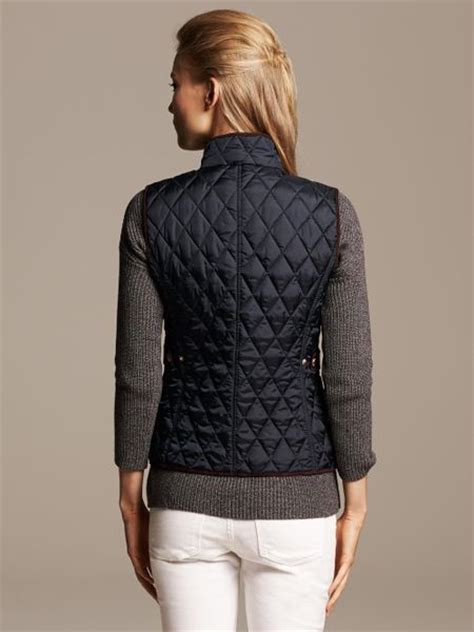 Navy Blue Quilted Vest by Banana Republic Quilted Vest In Blue Preppy Navy Lyst