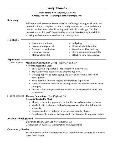 Resume Templates Accounting Clerk Accounts Receivable Clerk Resume Sle My Resume