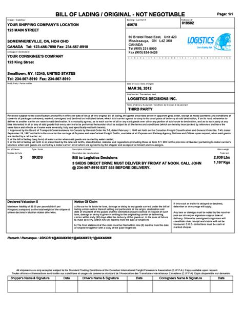 template bill of lading 21 free bill of lading template word excel formats