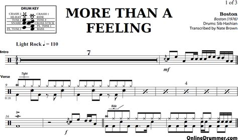 Free Printable Drum Sheet more than a feeling boston drum sheet