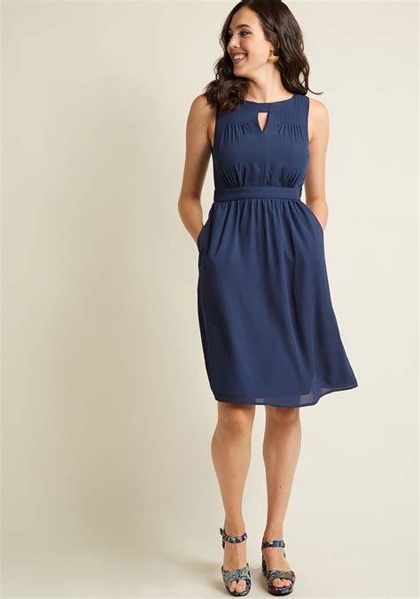 chiffon keyhole a line dress with pockets in navy modcloth