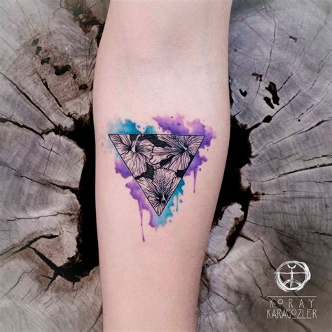 watercolor triangle tattoos hibiscus flowers by koraykaragozler on deviantart