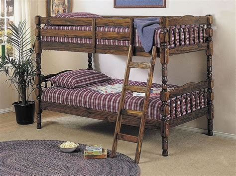 Walnut Finish Convertible Wooden Twin Over Twin Bunk Bed Bunk Bed Convertible