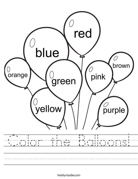 coloring pages for esl students color the balloons worksheet twisty noodle