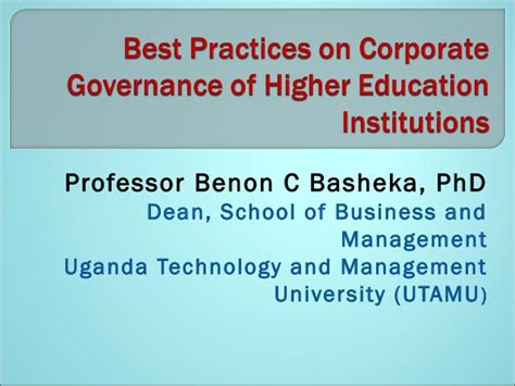 Mba Class Of 1966 Professor Of Management Practice Harvard by Best Practices On Corporate Governance Of Higher Education