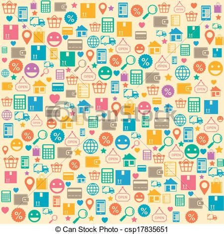 seamless pattern with shopping icons clipart vector of ecommerce online shopping seamless