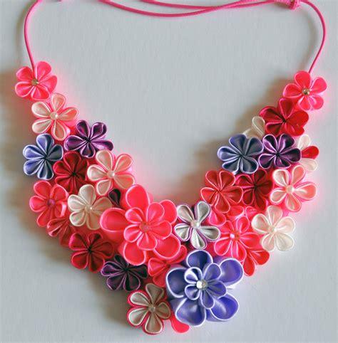 fiori di stoffa kanzashi collana kanzashi fatta a mano gioielli collane di