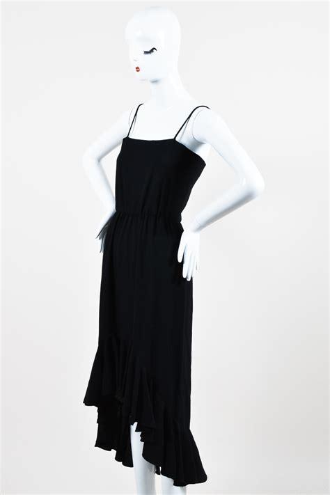 vintage oscar de la renta black ruffle hem sleeveless