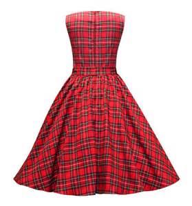 Christmas red tartan vintage style swing dress by british retro