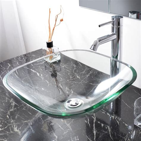 Bathroom Glass Bowl Sink by Modern Square Tempered Glass Vessel Sink Bathroom Vanity