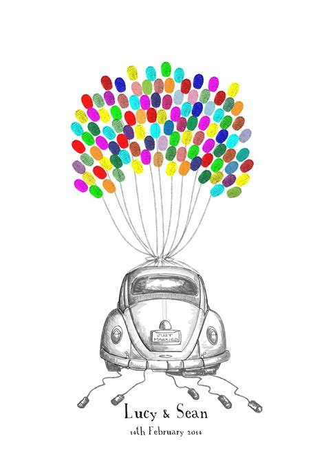 Handrawn vw beetle fingerprint balloon guest book kit