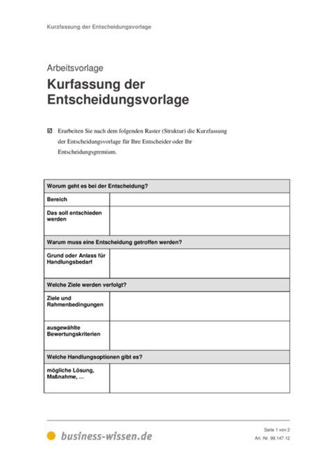 Word Vorlage Gliederung Kurzfassung Entscheidungsvorlage Business Wissen De