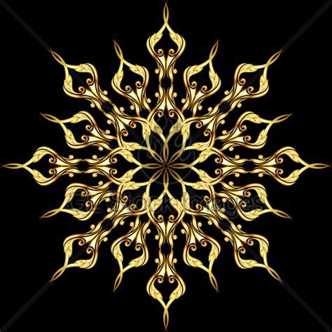gold pattern black background golden flower pattern 183 gl stock images