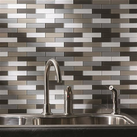 aspect 12 quot x 4 quot matted subway metal peel stick backsplash tiles 3 pcs at menards 174 aspect subway matted 12 in x 4 in rustic clay glass