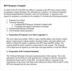 Free Rfq Template by Sle Rfp Response Template 8 Free Documents In Pdf