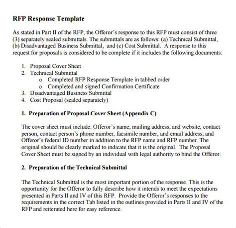 Response To Rfp Template Free