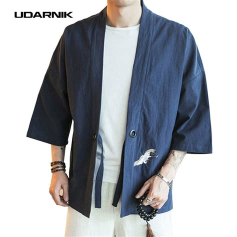 embroidery men japanese yukata coat jacket kimono outwear