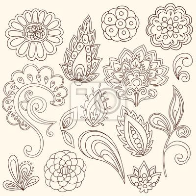 henna tattoo wall art sticker henna mehndi paisley vector design elements