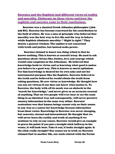 Socrates Essays by Philosophy Essay Sophism Socrates