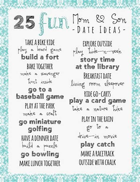 fun date ideas for teenagers gift to get a guy for 25 mom and son date ideas printable frugal fanatic