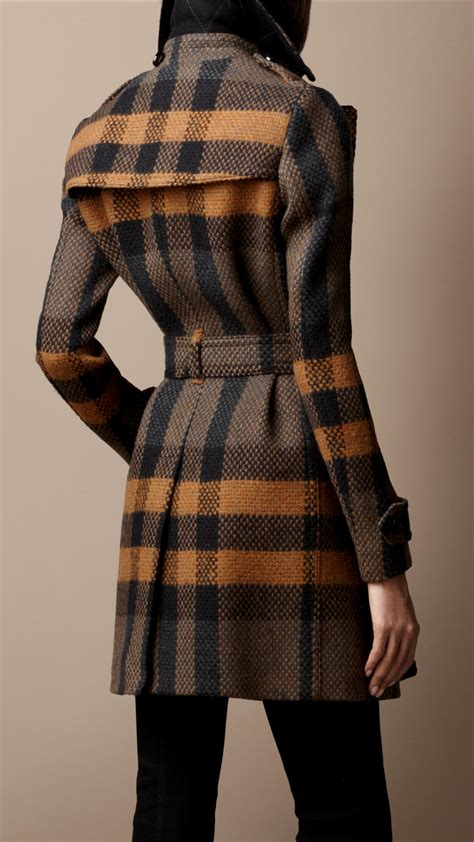 lyst burberry brit midlength woven check wool trench