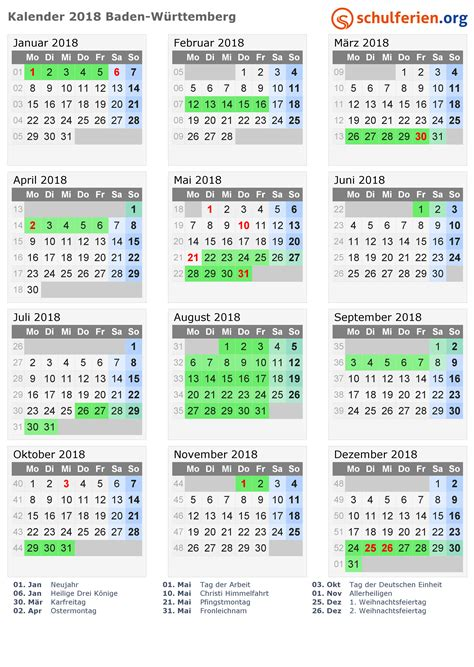 kalender 2018 ferien baden w 252 rttemberg feiertage