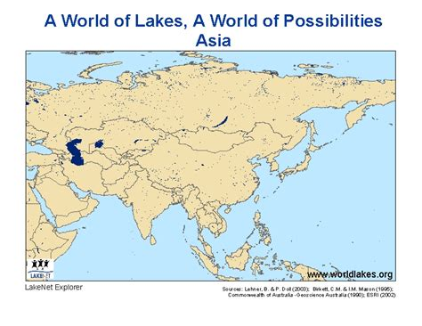world map with all lakes lakes of asia